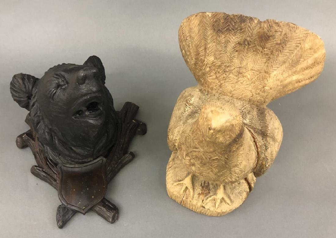 Carved Bear Head and Grouse