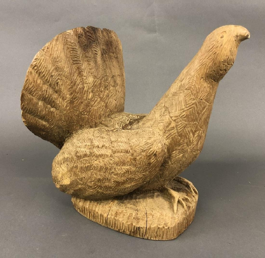 Carved Bear Head and Grouse - 3