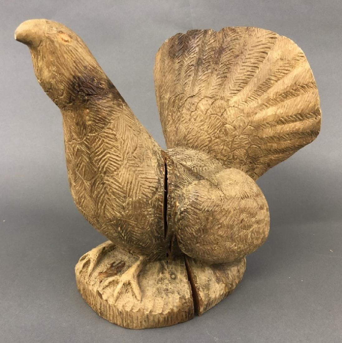 Carved Bear Head and Grouse - 4