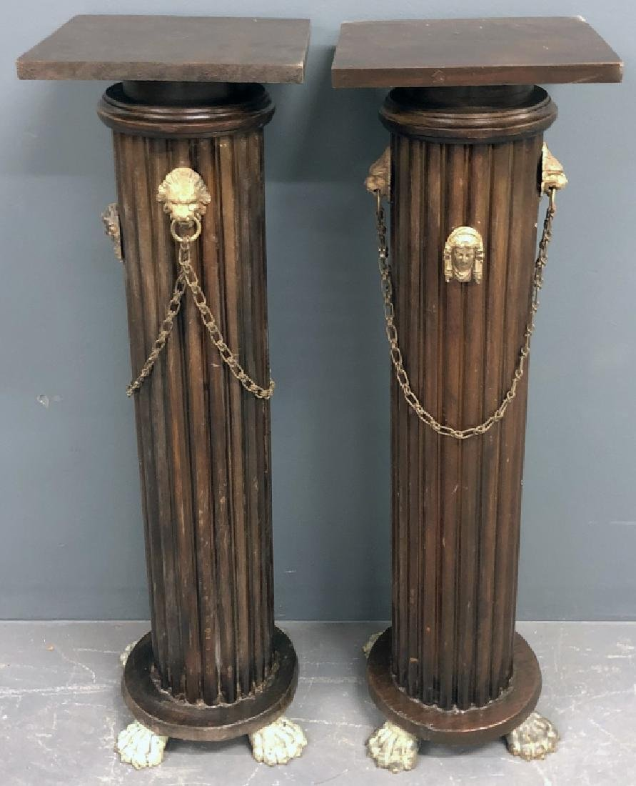 Pair of Victorian Style Faux Mahogany Pedestals