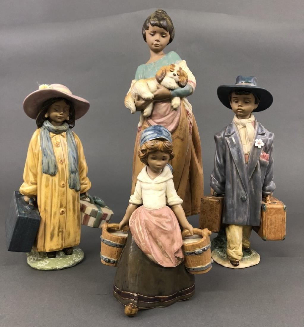 Four Large Colorful Lladro Figures