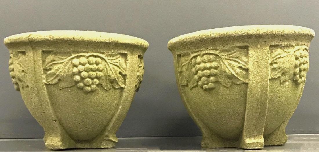 Pair of Cast Stone Planters - 2