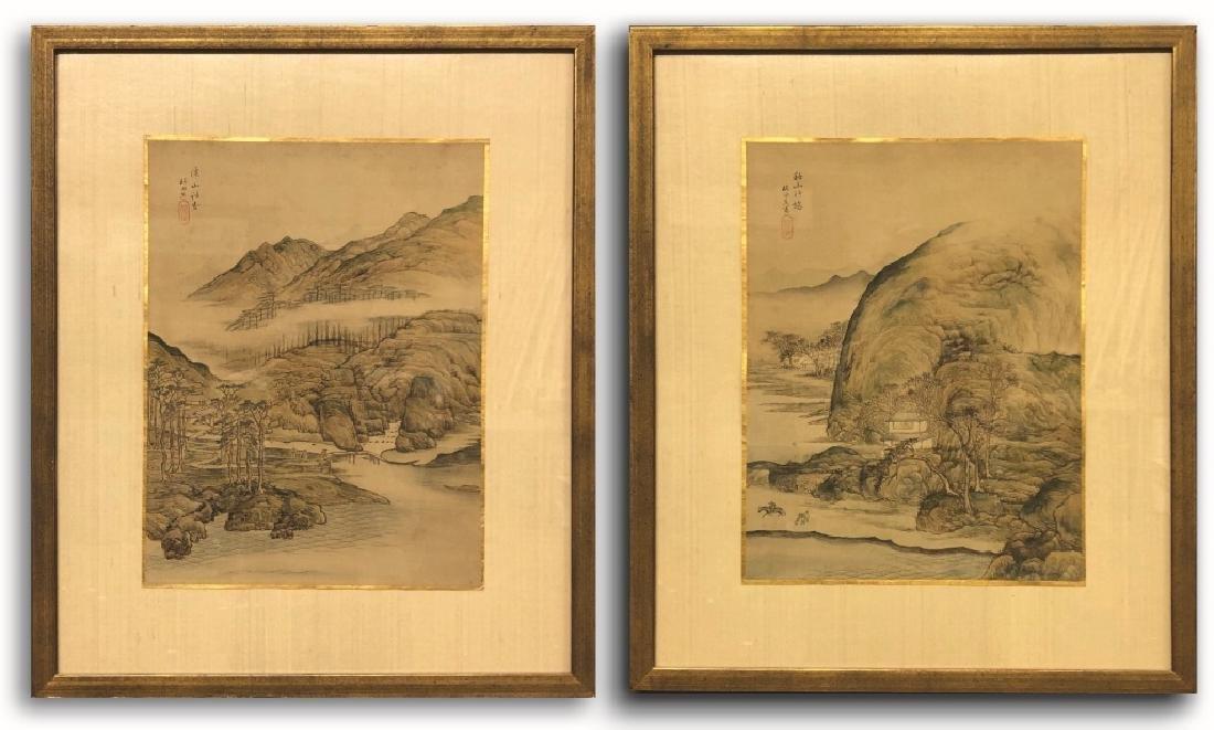 Pair of Qing Dyansty Painted Silk Album Leaves