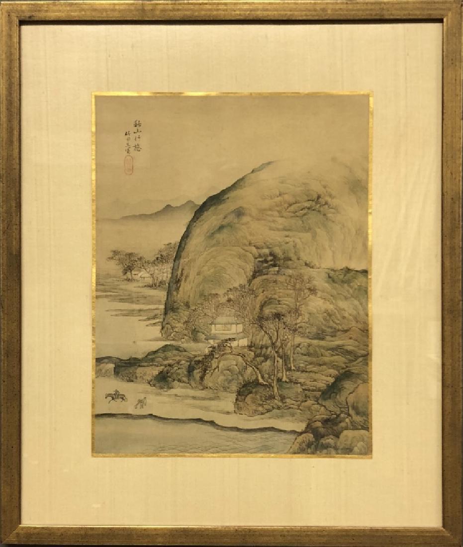 Pair of Qing Dyansty Painted Silk Album Leaves - 2