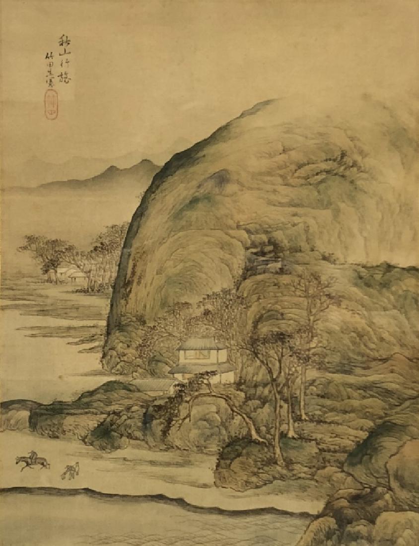 Pair of Qing Dyansty Painted Silk Album Leaves - 3