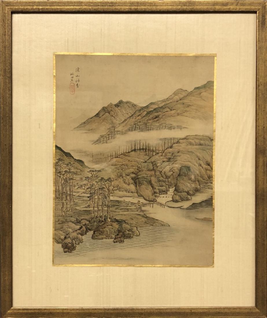 Pair of Qing Dyansty Painted Silk Album Leaves - 6