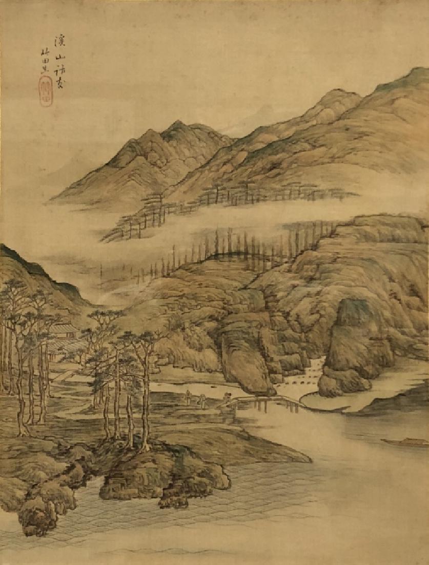 Pair of Qing Dyansty Painted Silk Album Leaves - 7
