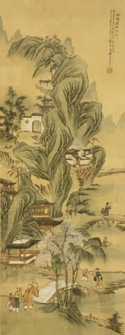 Chinese Qing Dynasty Painted Silk Hanging Scroll - 2