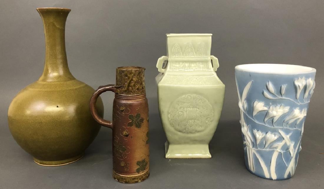 Four Porcelain and Pottery Vessels