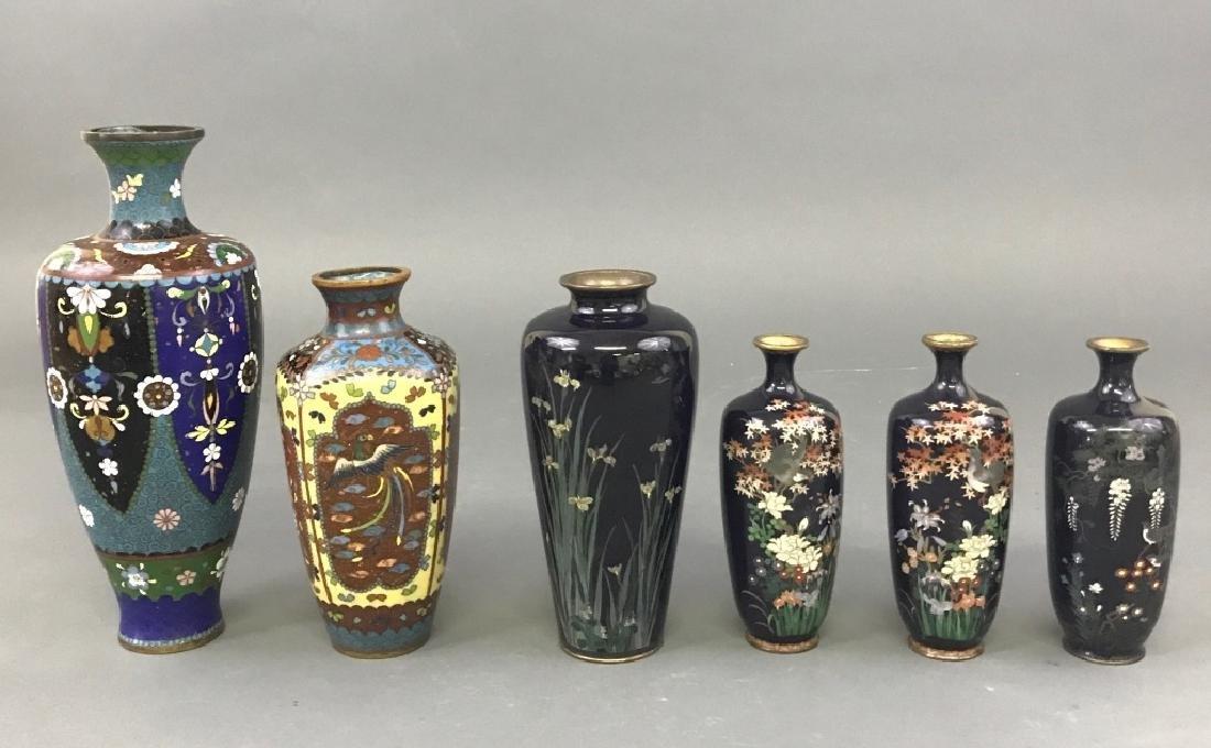 Six Cloisonne Vases