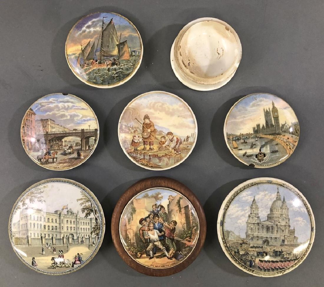 Seven Staffordshire Pot Lids