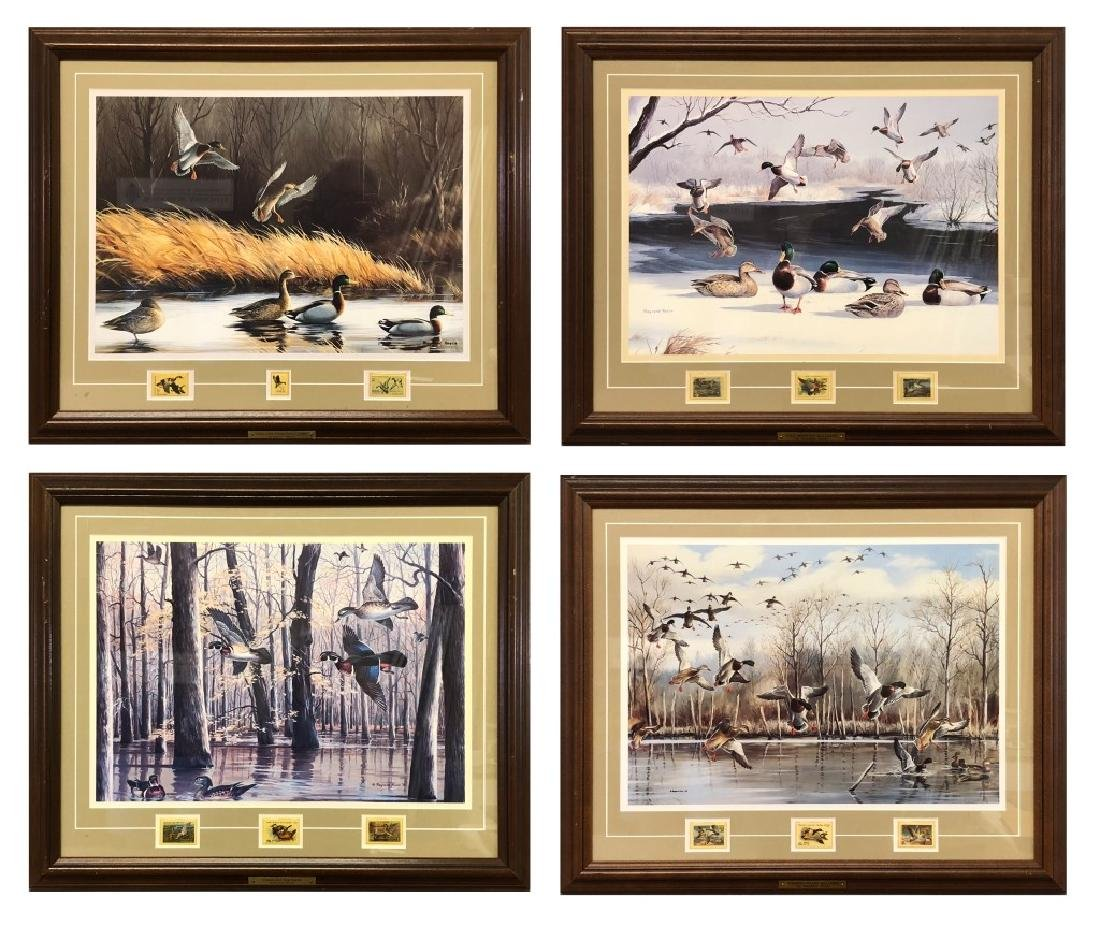 Four Maynard Reece Duck Prints with Stamps