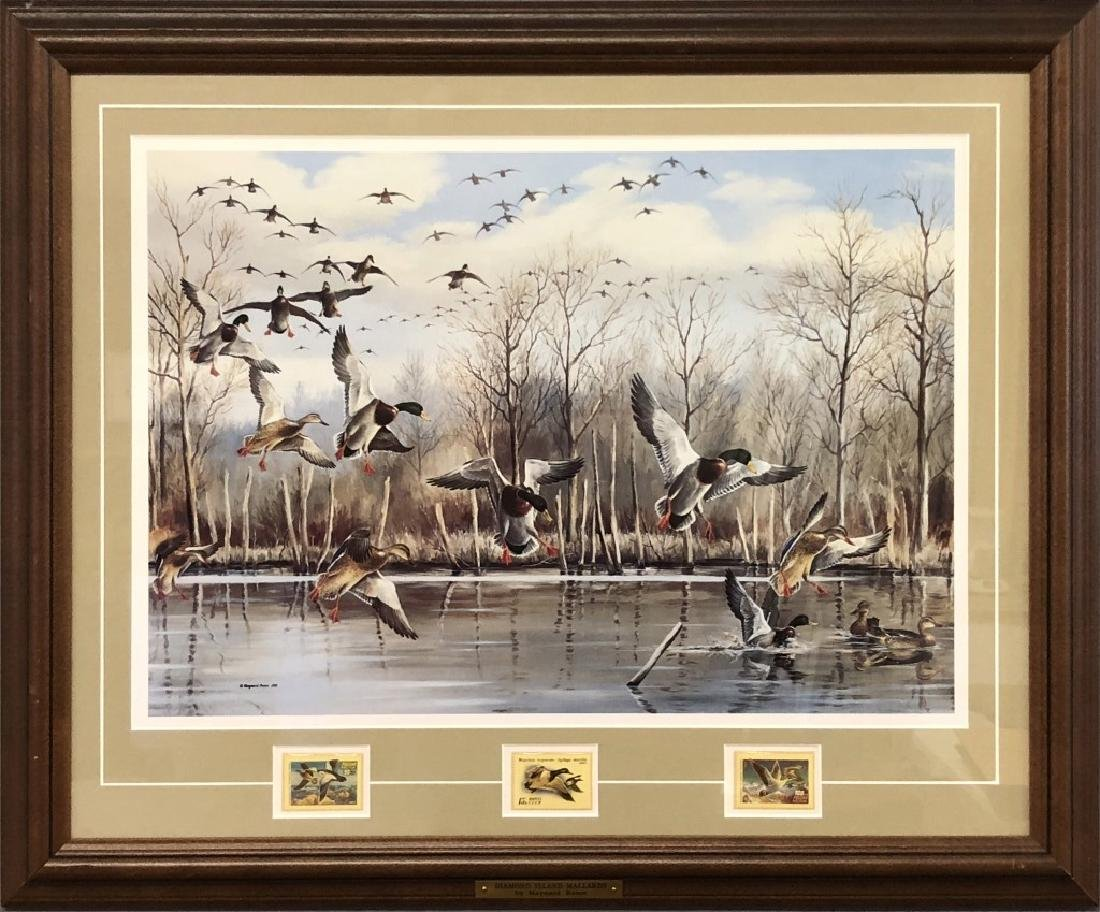 Four Maynard Reece Duck Prints with Stamps - 2