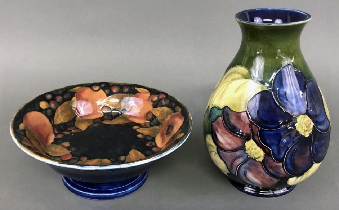"Moorcroft Art Pottery ""Iris"" and ""Pomegranate"""