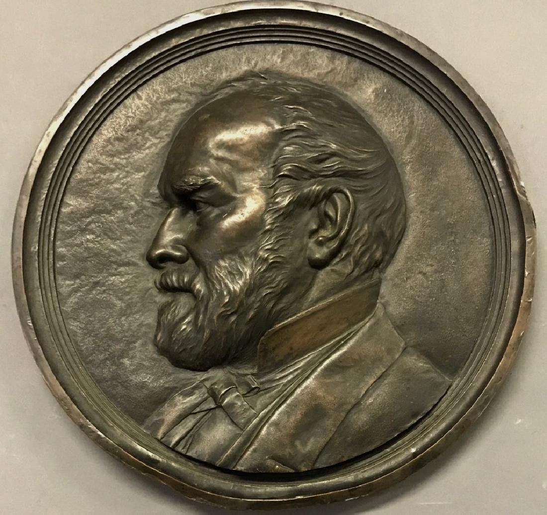 Large Cast Copper Round Figure of U.S. Grant