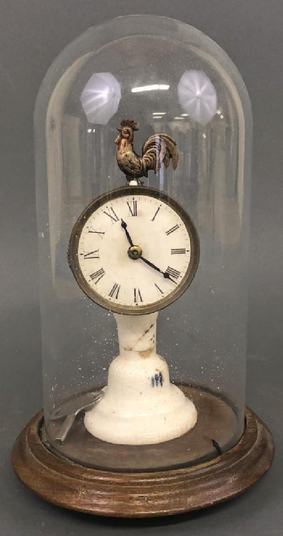 Glass Dome Rooster Clock