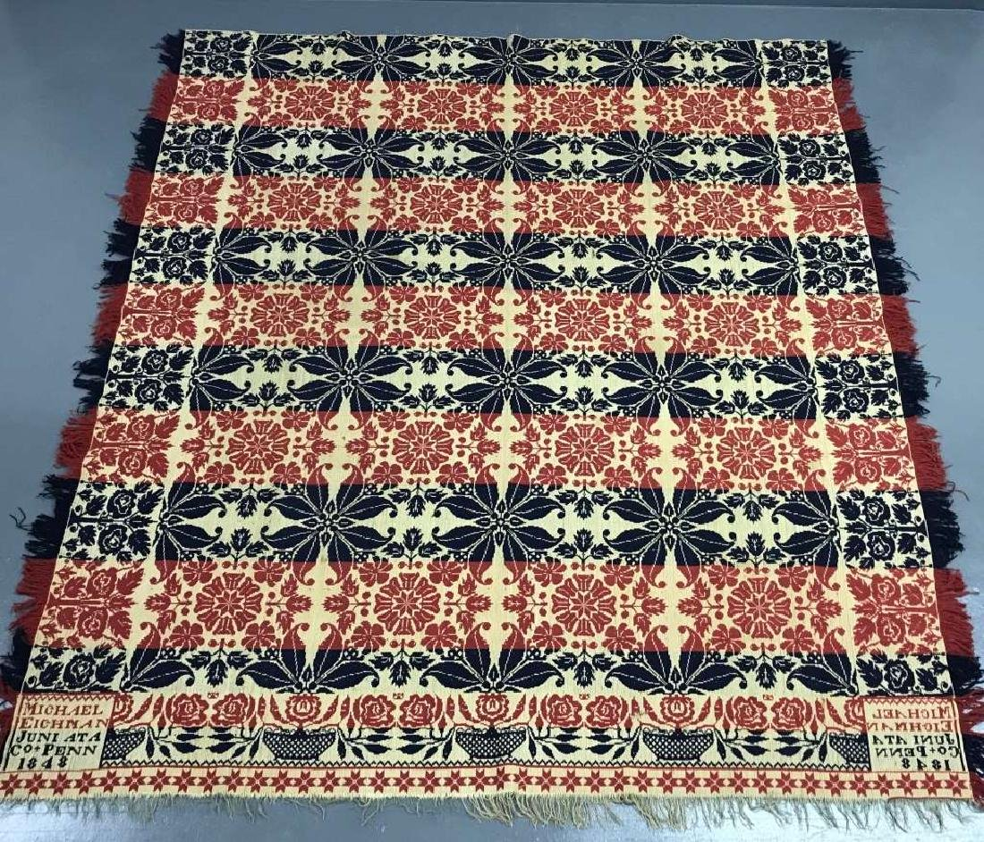 Signed Jacquard Coverlet