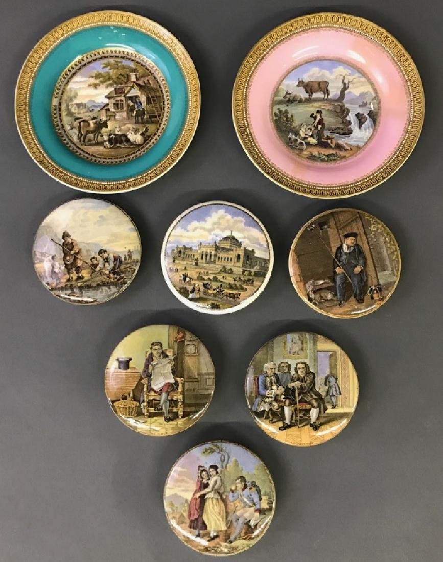 Six Victorian Pot Lids and Two Prattware Plates