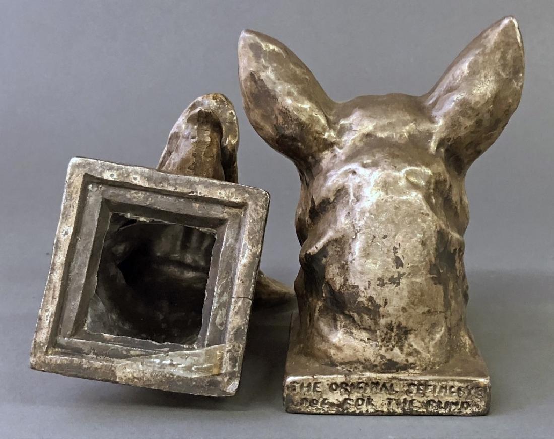Pair of Silvered Spelter Metal German Shepherds - 2