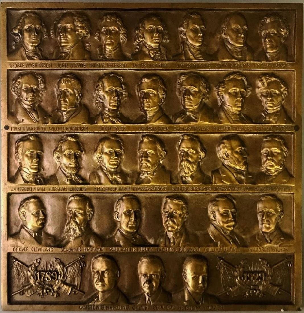 Bronze Plaque with Figures of American Presidents