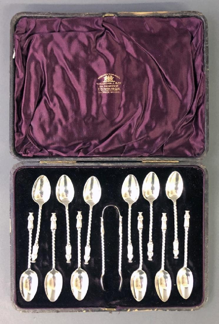 Cased Set of Twelve Apostle Spoons and Tongs