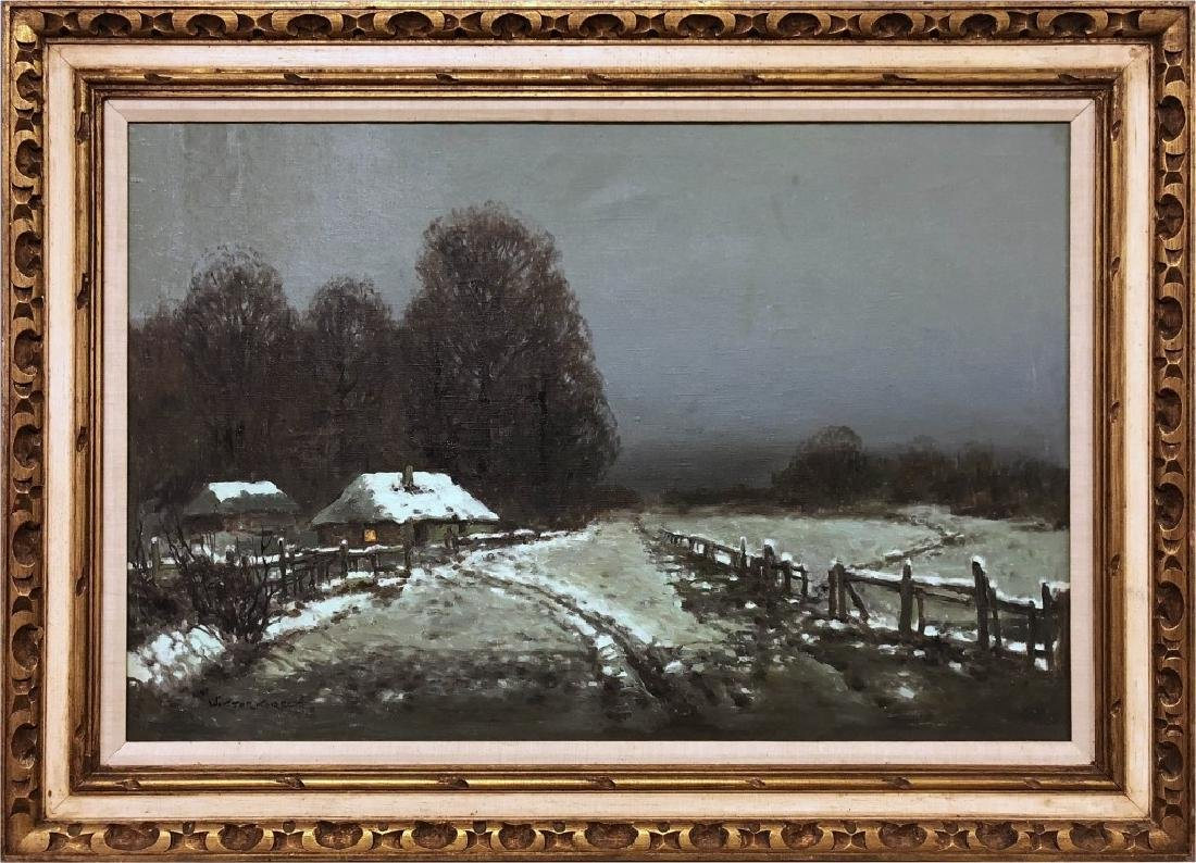 Wiktor Korecki Oil on Canvas Winter Farm Scene