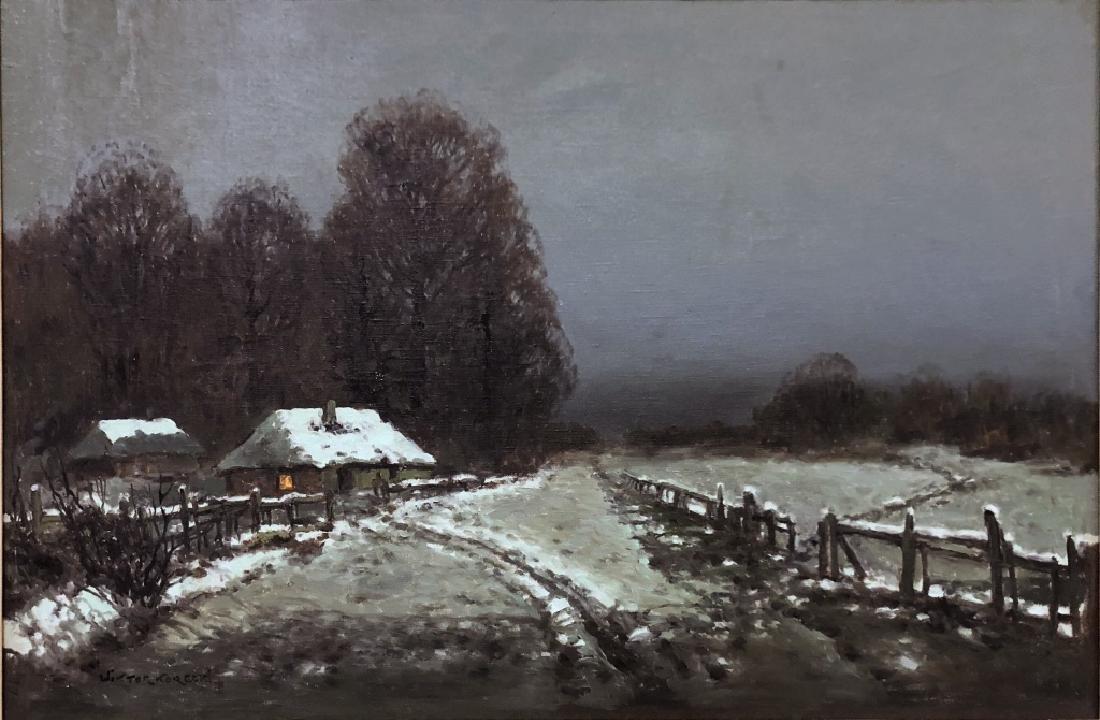 Wiktor Korecki Oil on Canvas Winter Farm Scene - 2