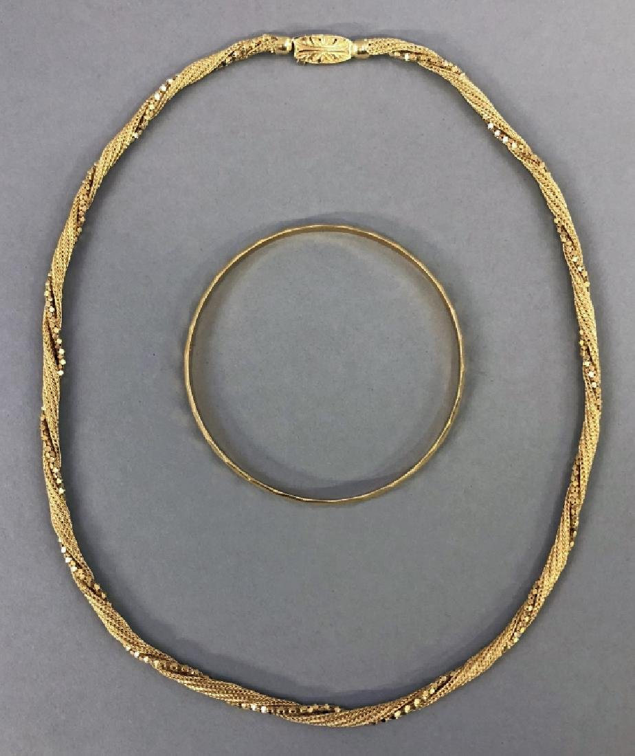 18K Gold Necklace and Bracelet