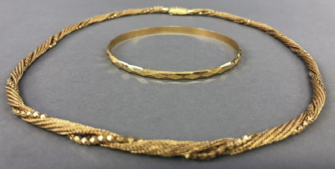 18K Gold Necklace and Bracelet - 2
