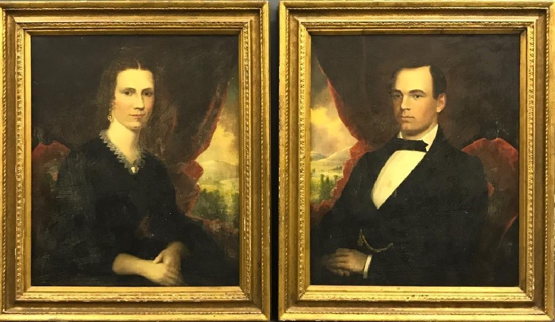 Robert Street Pair of Oil on Canvas Portraits