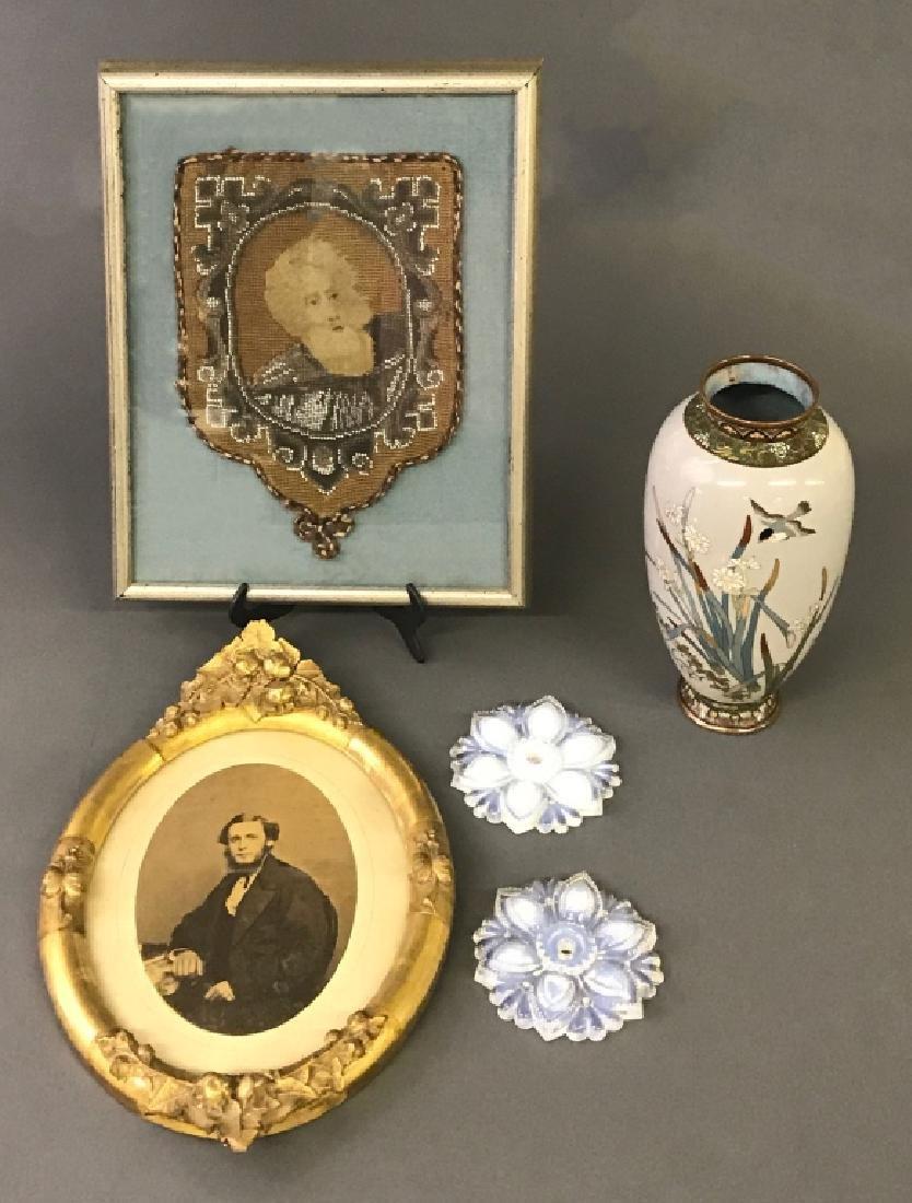 Japanese Cloisonne Vase, Framed Beadwork, etc