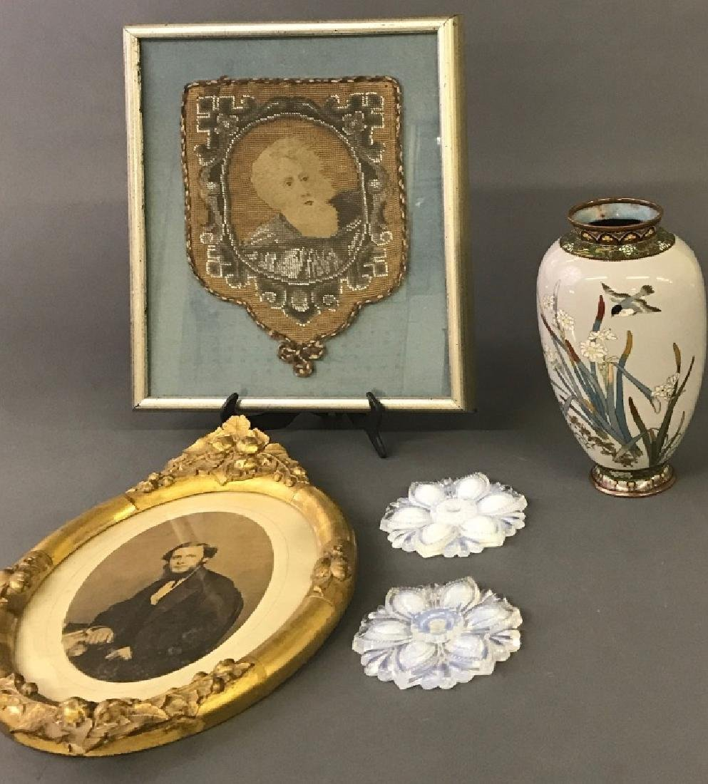 Japanese Cloisonne Vase, Framed Beadwork, etc - 2