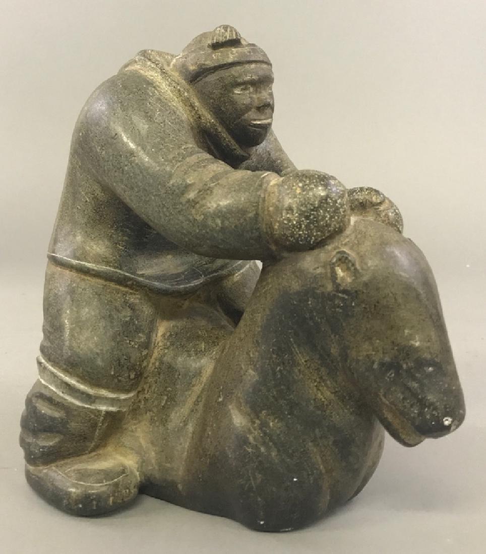 Intuit Carved Stone Eskimo - 3