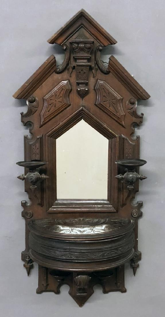 Victorian Walnut Shaving Mirror