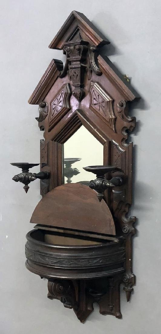 Victorian Walnut Shaving Mirror - 2