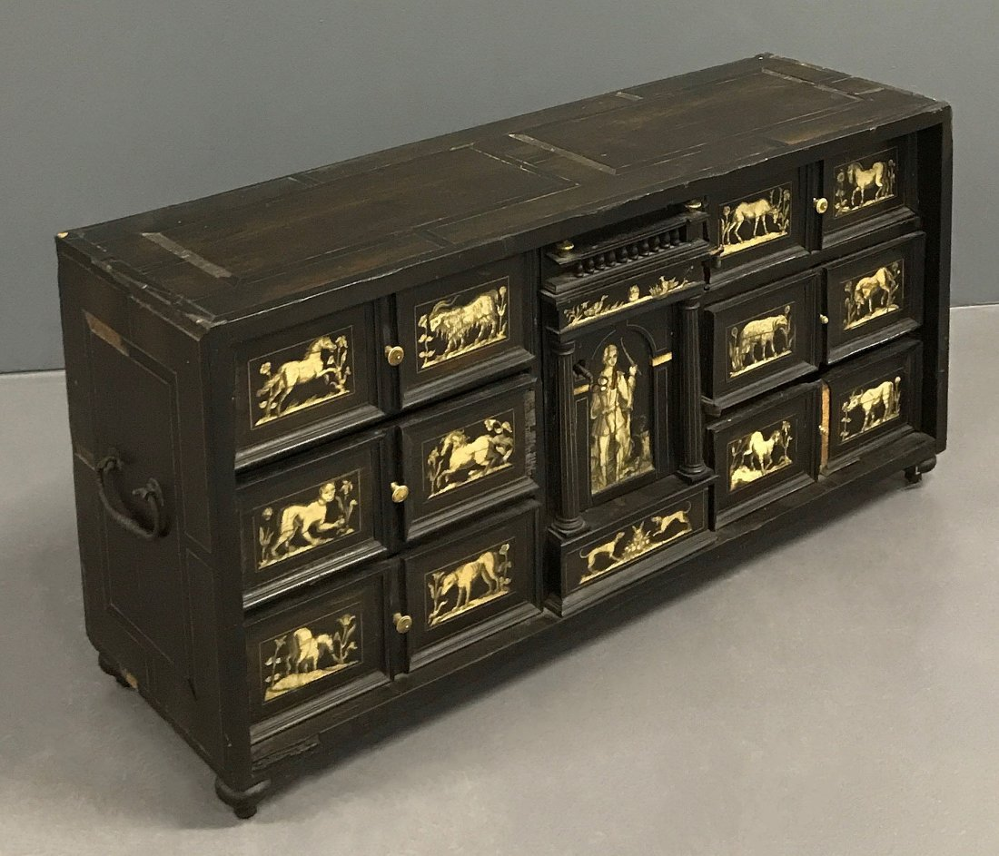 Flemish Ebonized and Ivory Inlaid Cabinet