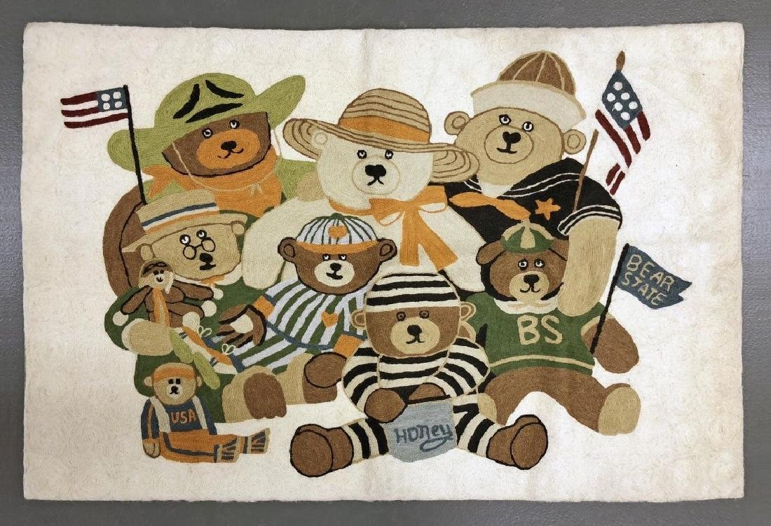 Teddy Bear Pictorial Rug or Wall Hanging