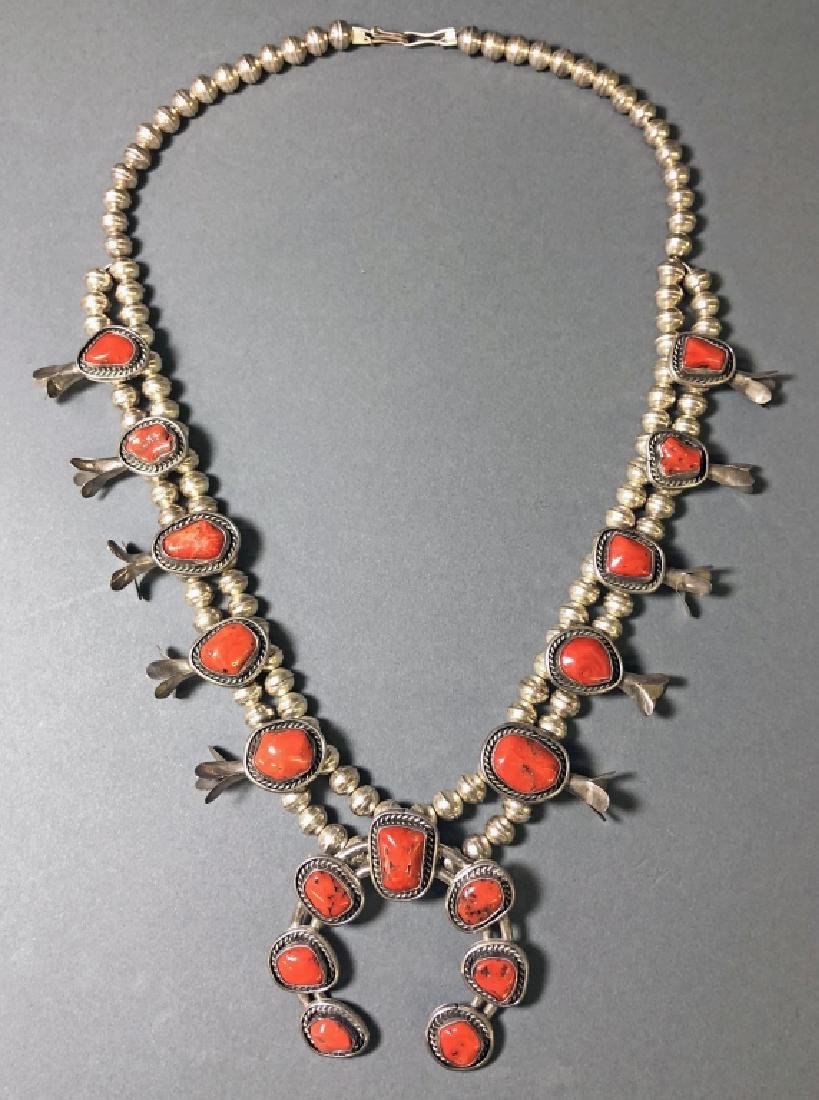 Silver and Coral Squash Blossom Necklace