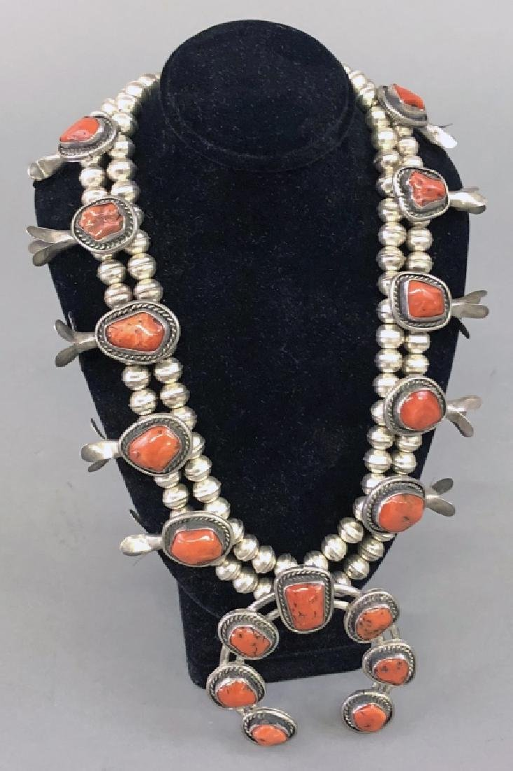 Silver and Coral Squash Blossom Necklace - 2