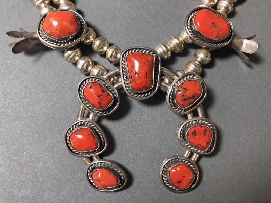 Silver and Coral Squash Blossom Necklace - 3