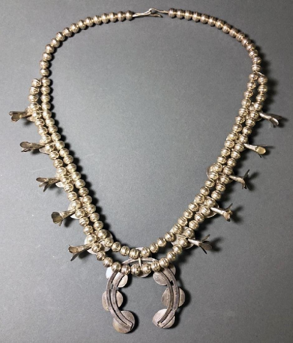 Silver and Coral Squash Blossom Necklace - 4