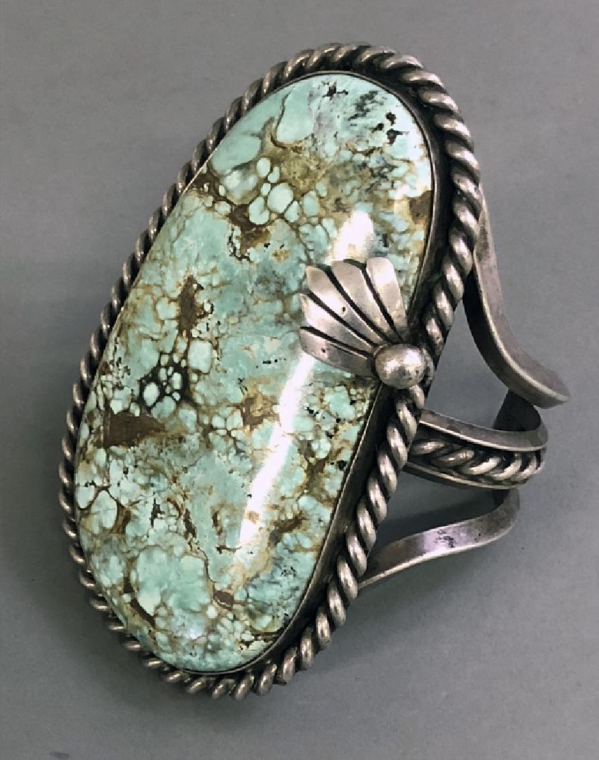 Large Navajo Silver & Turquoise Bracelet