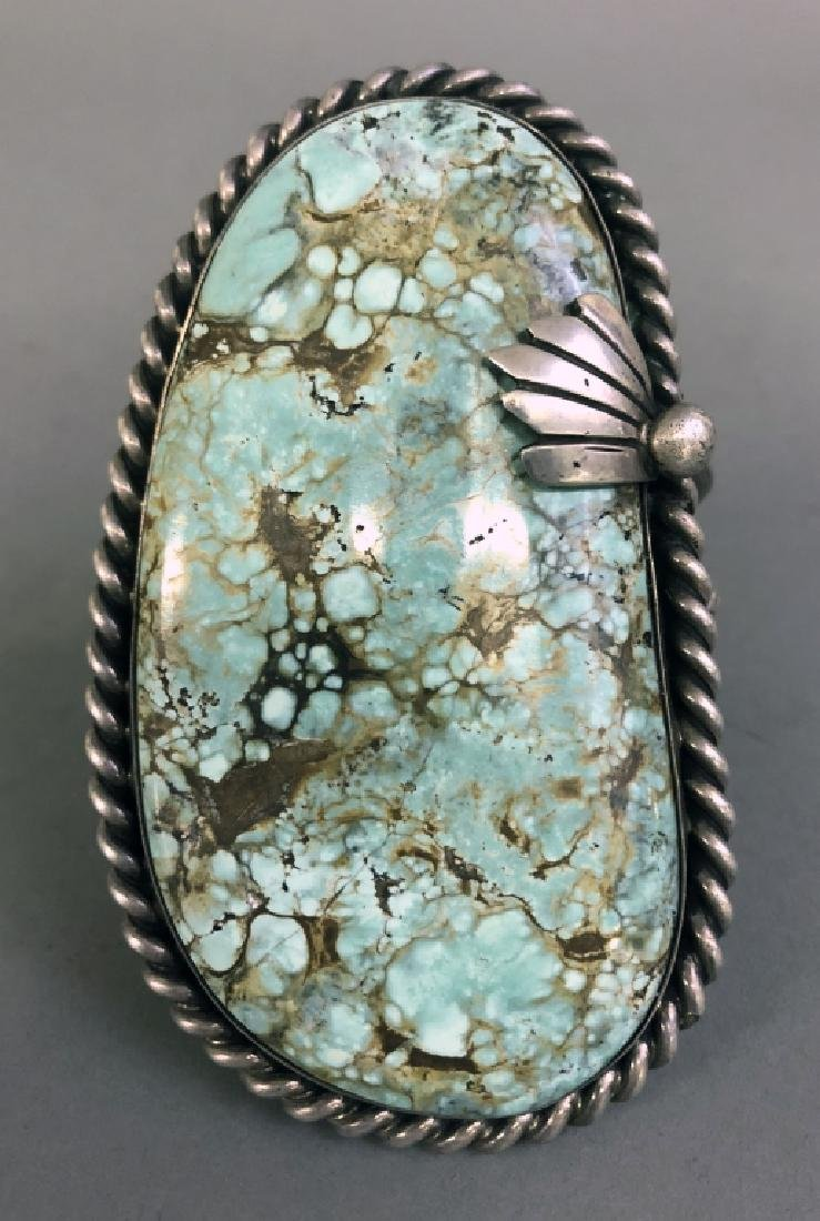 Large Navajo Silver & Turquoise Bracelet - 3