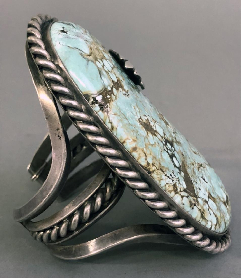 Large Navajo Silver & Turquoise Bracelet - 4