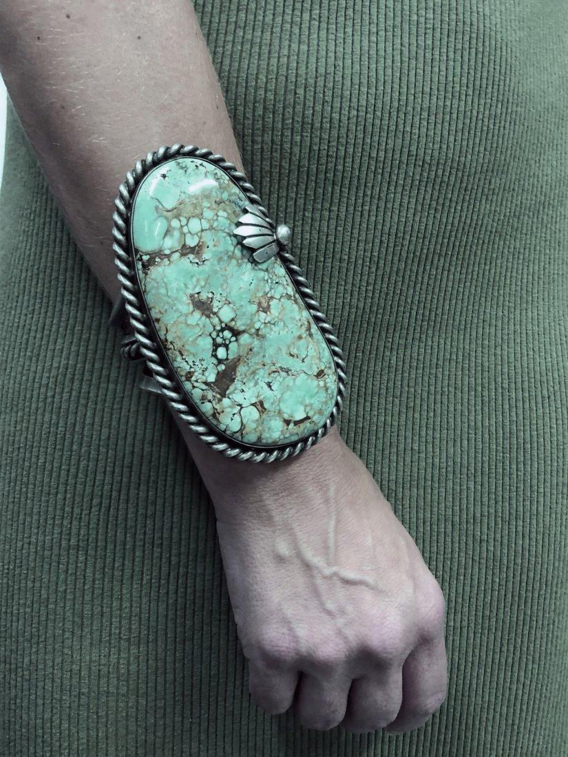 Large Navajo Silver & Turquoise Bracelet - 7