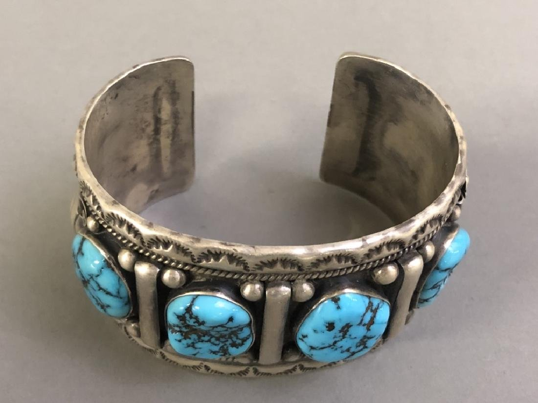 Chief Dodge Sterling Silver and Turquoise Bracelet - 5