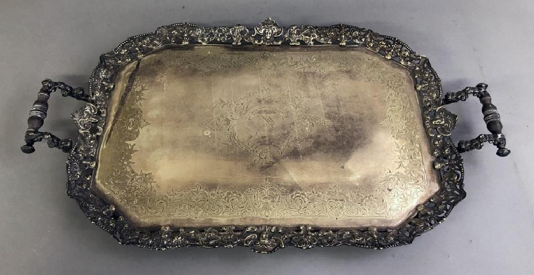 Ornately Chased English Silverplate Serving Tray