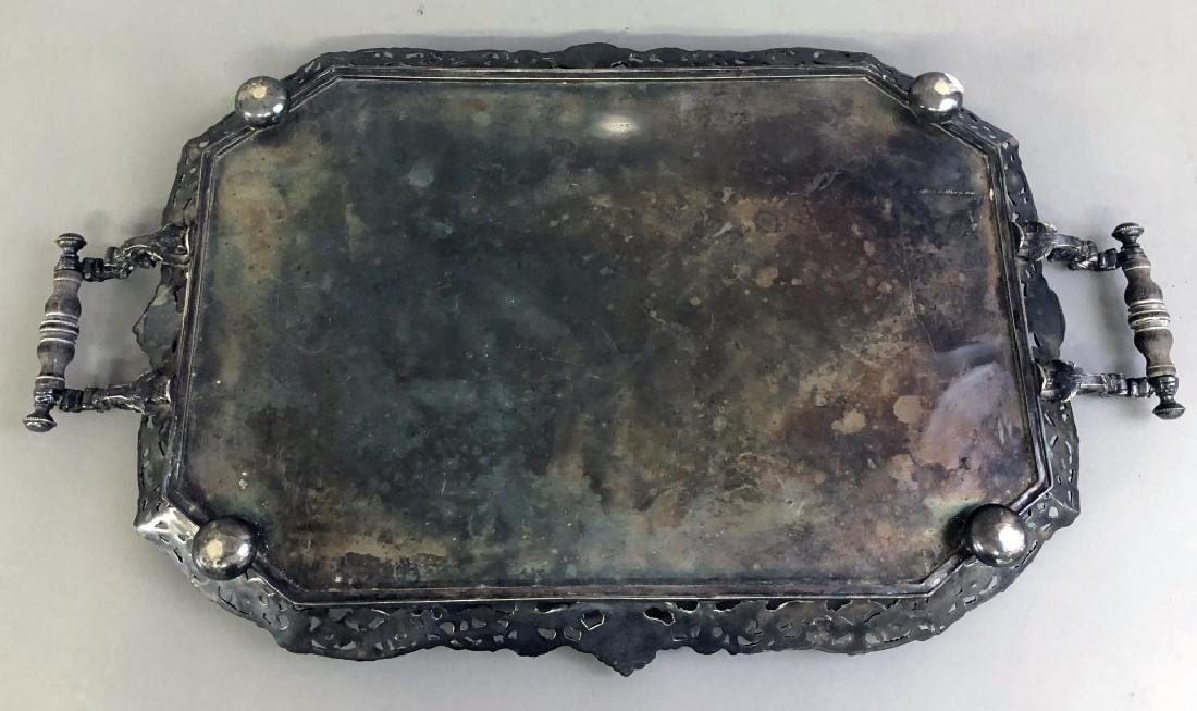 Ornately Chased English Silverplate Serving Tray - 5