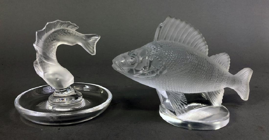 Lalique Fish Ring Holder and Perch Hood Ornament