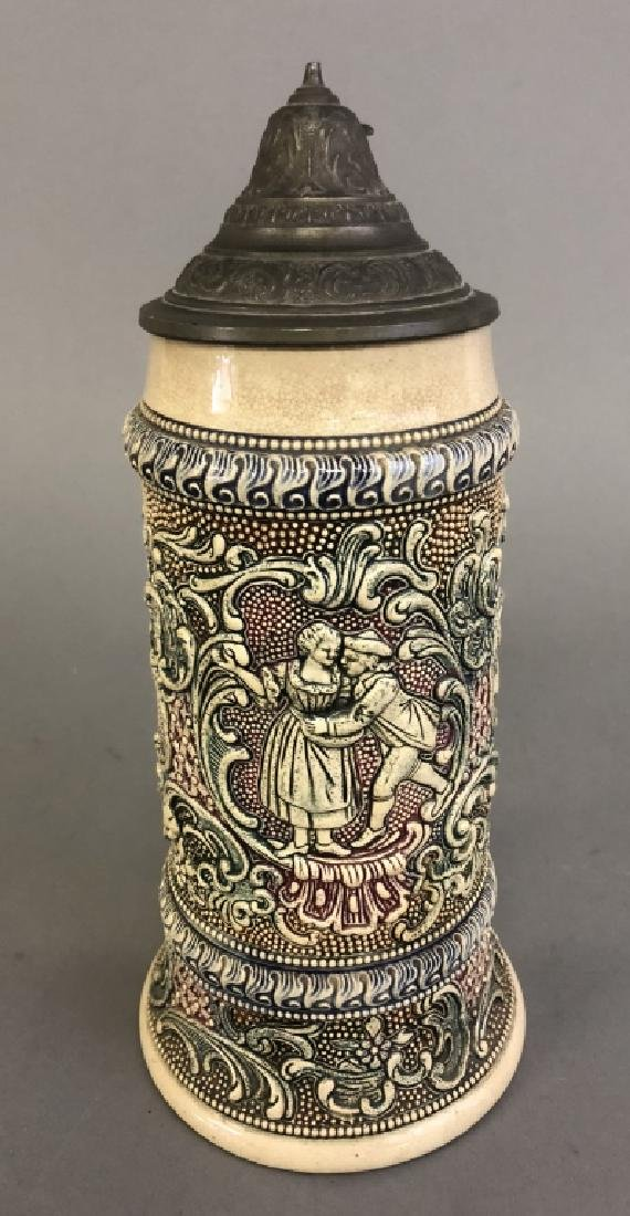 German Porcelain Stein with Pewter Lid - 2